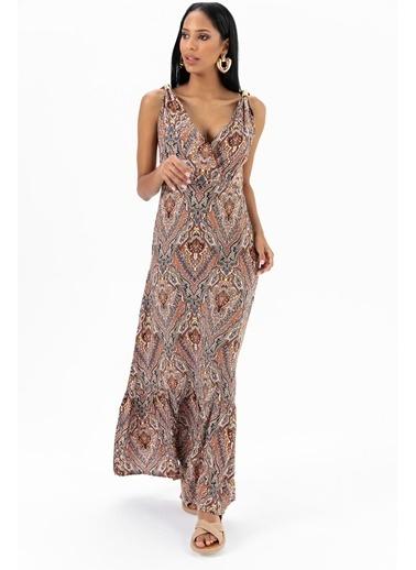 Emjey Metal Askılı Desenli Elbise Renkli